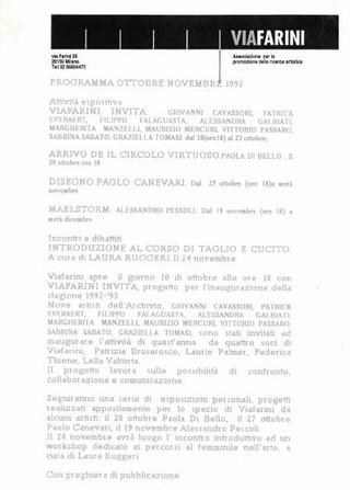 Comunicato con il programma di ottobre e novembre 1992