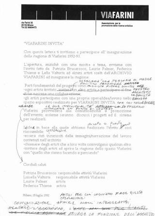 Lettera di invito per Viafarini invita