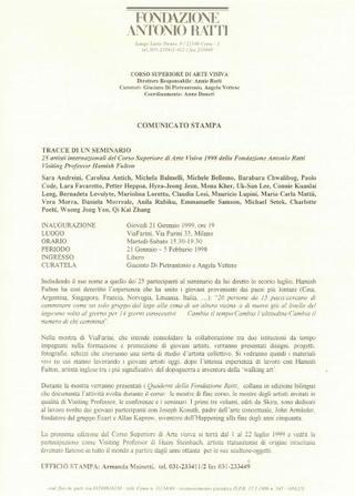 La Ratti fa un proprio comunicato senza logo Viafarini (1999)