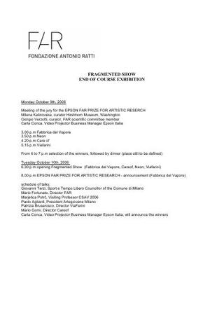 Il programma delle giornate (2006)