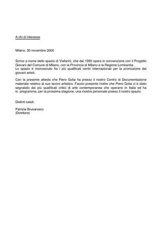 Lettera di supporto a Piero Golia.