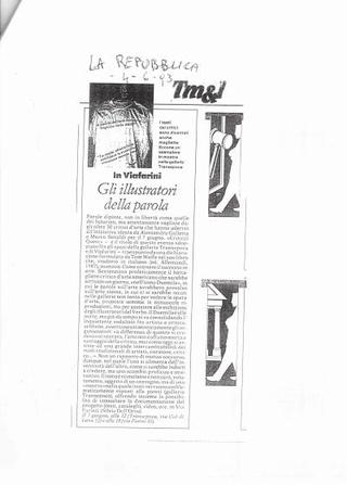 Critical Quest, articolo di Silvia Dell'Orso su La Repubblica, 4 giugno 1993