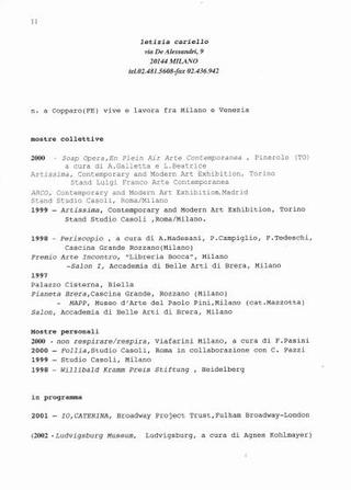 Il curriculum di Letizia Cariello all'epoca della mostra