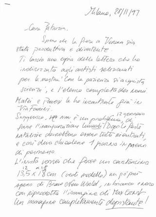 La lettera di invito agli artisti