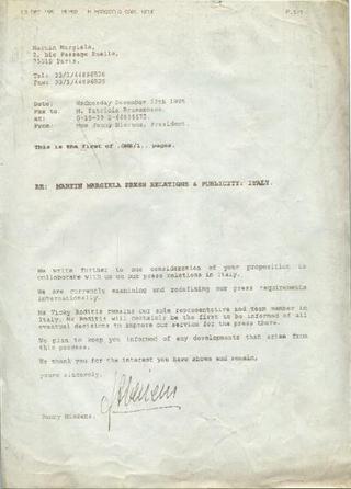 Martin Margiela, fax ricevuto a Viafarini nel 1993