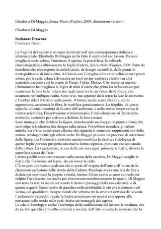 Testo di Francesca Pasini, 2009.