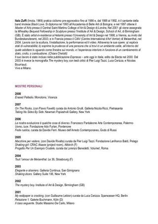 Curriculum Vitae di Italo Zuffi nel 2009