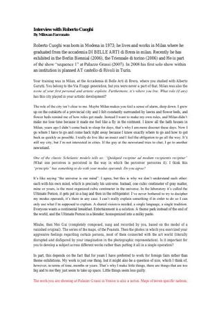 L'intervista di Milovan Farronato a Roberto Cuoghi, in inglese