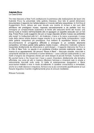 Il testo di Milovan Farronato: Gabriele Picco, Le Case d'Arte