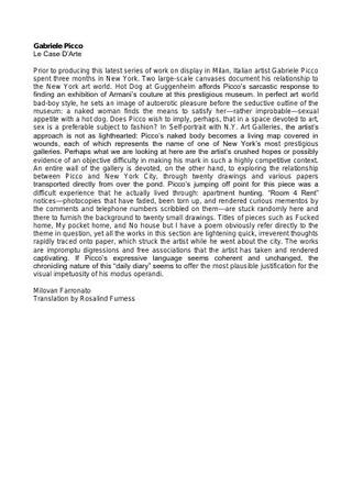 Il testo di Milovan Farronato, in inglese: Gabriele Picco, Le Case d'Arte