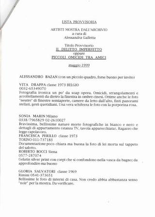 La proposta di Alessandra Galletta, nel 1999