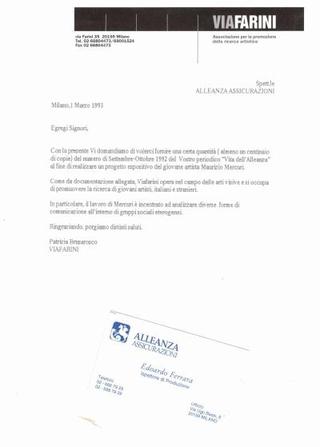 Maurizio Mercuri, rapporti con Alleanza Assicurazioni
