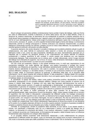 Del dialogo di Irene Calderoni.