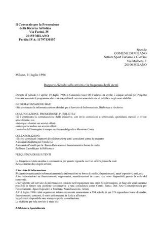 Relazione per il Comune di Milano.