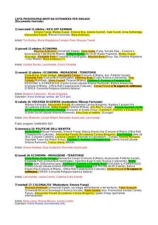 Lista degli interventi e ipotesi di cronoprogramma