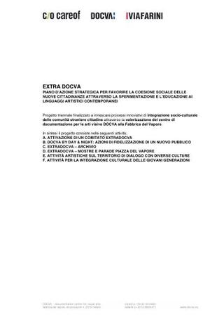 Il progetto ExtraDOCVA sottoposto a Fondazione Cariplo nel 2010 e bocciato