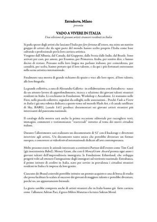 """Progetto ExtraDOCVA - """"Vado a vivere in Italia"""", una selezione di giovani artisti stranieri residenti in Italia, a cura di Alessandra Galletta, 2010"""