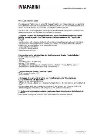 Accordo di collaborazione tra Viafarini e Mascherenere, 25 settembre 2013