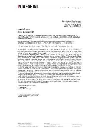 Contributo a fondo perduto di Viafarini per Mascherenere, maggio 2014