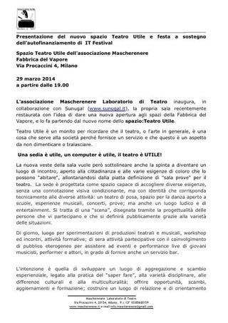 Comunicato: inaugurazione del nuovo spazio TU di Mascherenere alla Fabbrica del Vapore in occasione di IT Festival, 29 marzo 2014