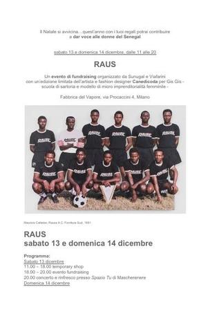 Rauss, un evento di fundraising organizzato da Sunugal e Viafarini con una edizione limitata dell'artista Canedicoda per Gis Gis - scuola di sartoria e modello di microimprenditorialità femminile