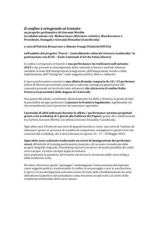 """Workshop e performance-sfilata """"Il confine è ortogonale al transito"""" di Giovanni Morbin con Canedicoda, 2014"""