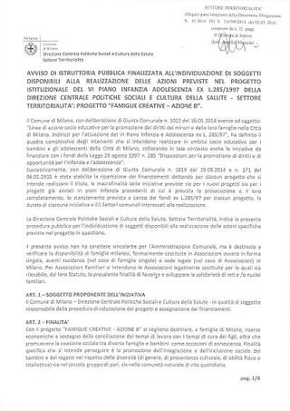 """Progetto """"Famiglie Creative"""", Comune di Milano Politiche Sociali, 2 marzo 2016"""