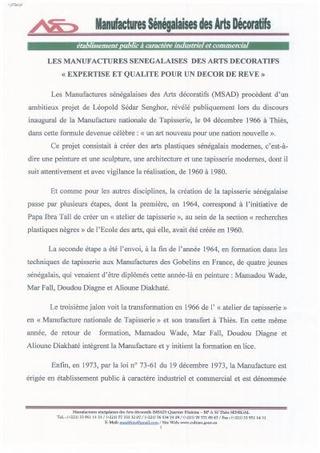 Manifattoria Senegalese delle Arti Decorative - Istituzione pubblica a carattere industriale e commerciale
