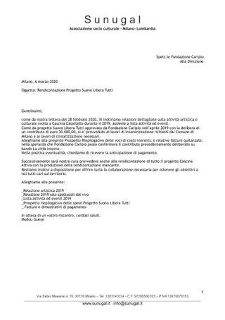 Rendicontazione progetto Suono Libera Tutti, marzo 2020. Respinta da Fondazione Cariplo.