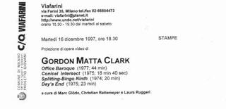 Gordon Matta Clark, 1997