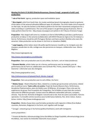 Report dell'incontro tra i partner di progetto Italia-Svizzera sul palinsesto complessivo