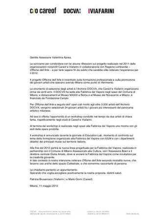 Lettera a Regione Lombardia, 2012