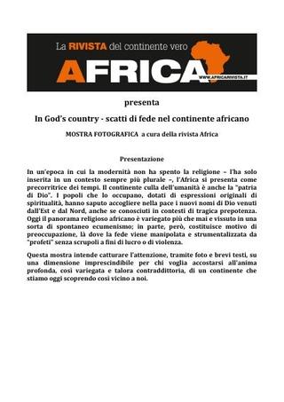 Presentazione della mostra fotografica: God's country