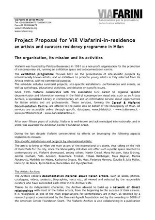Project Proposal for VIR Viafarini-in-residence (2008)