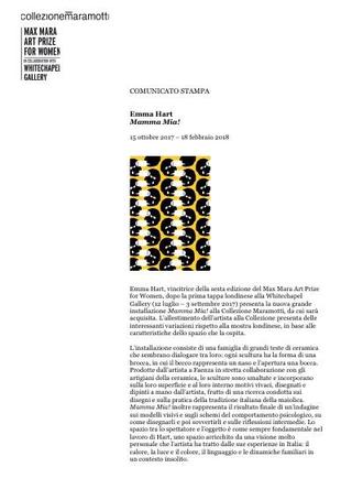 Comunicato stampa mostra a Collezione Maramotti (2017)