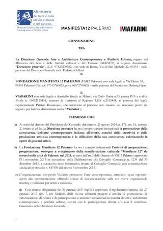 Convenzione Viafarini - Manifesta12 Palermo - MIBACT