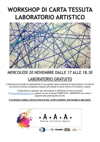 Locandina del Workshop - Laboratorio Artistico di carta tessuta