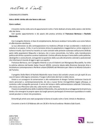 Comunicato stampa della conversazione online tra Gabi Scardi e Francesco Bertocco su Historia per nctm e l'arte