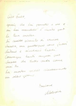 Enzo Umbaca, Incroci di voci, lettera di saluti