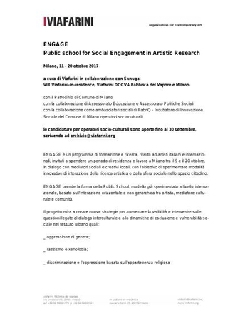 Programma Engage Public School for Social Engagement in Artistic Research