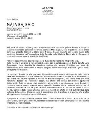 La mostra in contemporanea di Maja Bajevic alla galleria Artopia