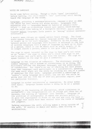 Vito Acconci, Notes on Language, December 1986