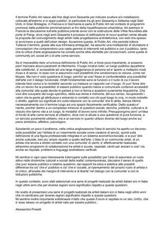 Testo critico di Alessandra Pioselli pubblicato su Portale Public Art Italia - http://www.undo.net/Publicart/