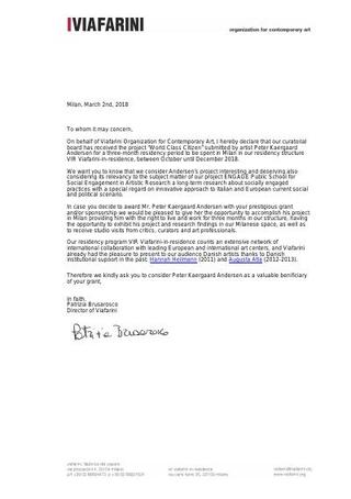 Lettera di invito per applicare ai fondi del Danish Council
