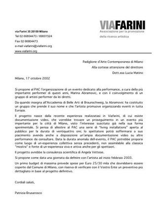 Proposta a PAC Padiglione dArte Contemporanea di Milano.