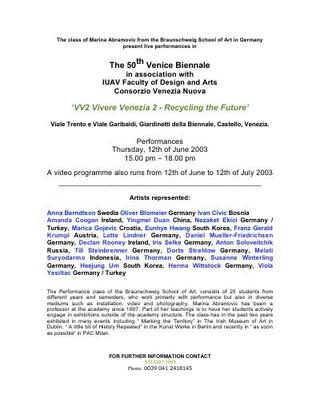Performance a Venezia presso IUAV.
