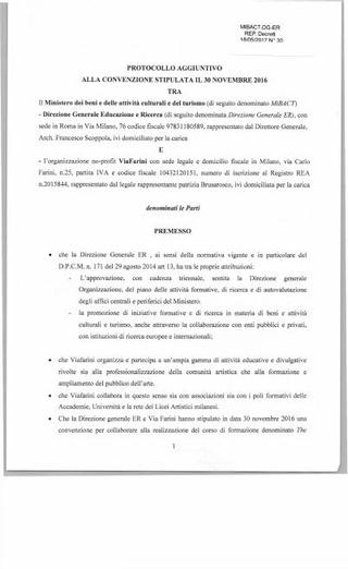 Convenzione con MIBACT - Direzione Generale Educazione e Ricerca