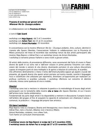 """Programma dei workshop """"Wherever we go - Ovunque andiamo"""" ."""