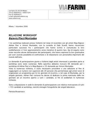 """Relazione al workshop """"Wherever we go - Ovunque andiamo""""."""