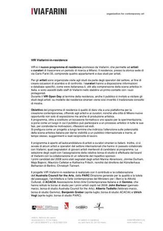 Comunicato stampa di avvio di VIR Viafarini-in-residence.